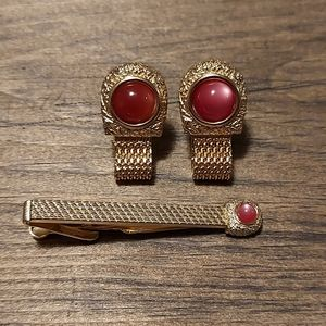 Men's Vintage Gold Tone Swank Cuff Links Tie Clip